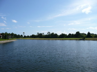 A lake and golf course view at Grand Haven Palm Coast FL